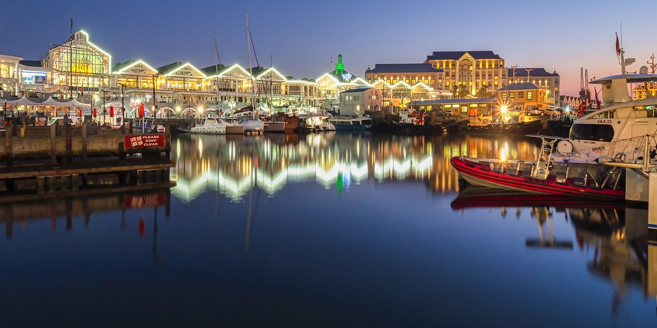 Festive lights at the waterfront in Cape TOwn